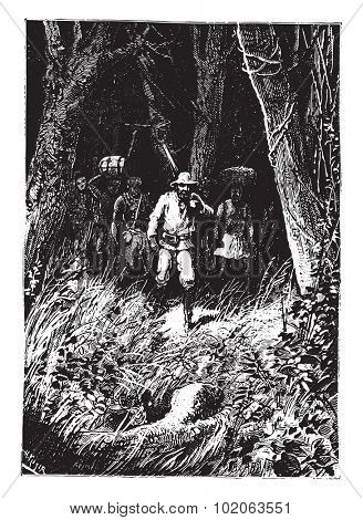 Why did he take that direction?, vintage engraved illustration. From 15 year's old captain book from Jules Verne.