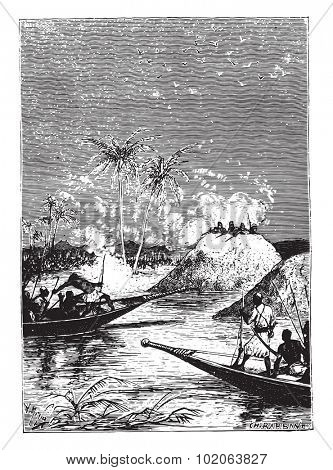 All fired on one of the boats, vintage engraved illustration. From 15 year's old captain book from Jules Verne - 1880