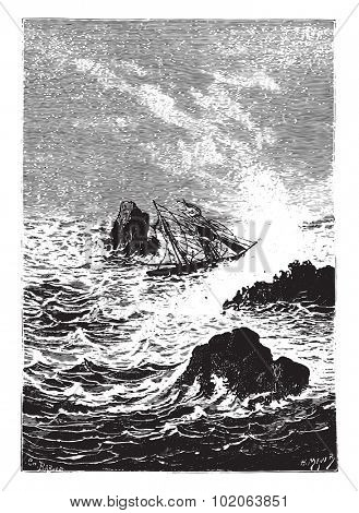 In this place, the sea was more furious, vintage engraved illustration.  Jules Verne, a 15 year old captain.