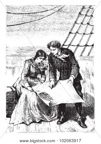 At what point of the side we get there?, vintage engraved illustration.  Jules Verne, a 15 year old captain.