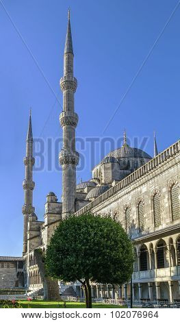The Sultan Ahmed Mosque known as the Blue Mosque is an historic mosque in Istanbul. poster