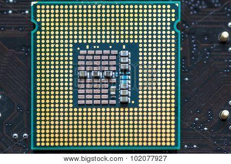 Closeup Macro Of A Computer Cpu Processing Chip