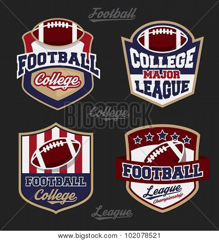Set Of Football College League Badge Logo