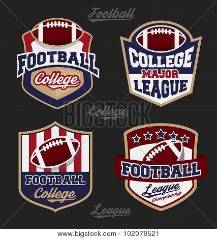 Set Of Football College League Badge Logo