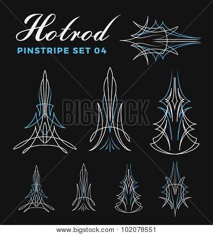 Set Of Vintage Pin Striping Line Art.