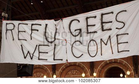 Handmade Banner Refugees Welcome