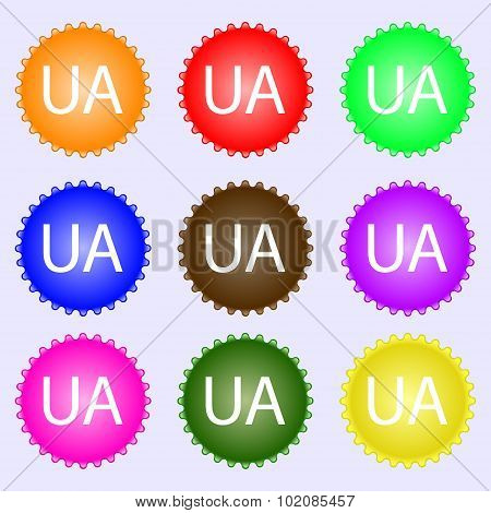 Ukraine Sign Icon. Symbol. Ua Navigation. A Set Of Nine Different Colored Labels. Vector