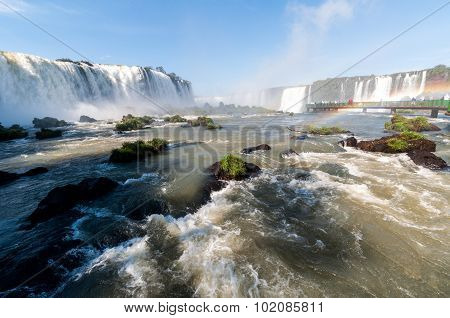 Iguacu (iguazu) Falls On A Border Of Brazil And Argentina