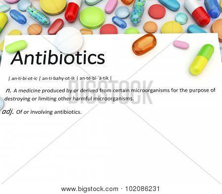 Variety of colorful prescription drugs - Antibiotics poster