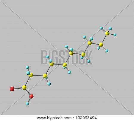 Decanoic - capric - acid is a saturated fatty acid. 3d illustration.