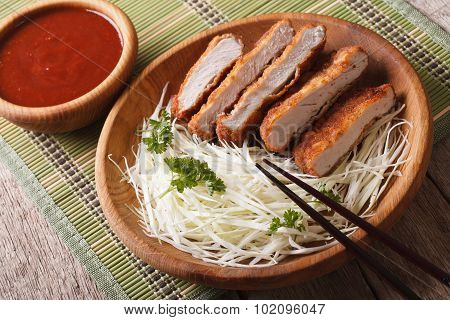 Tonkatsu Japanese Breaded Deep Fried Pork Cutlet Serve With Cabbage