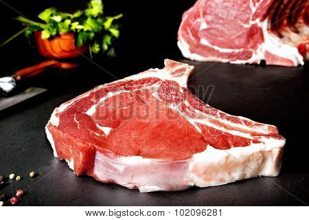 Fresh and raw meat. Ribeye. Grilled meat barbecue