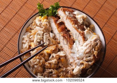 Japanese Food Katsudon Closeup. Horizontal Top View