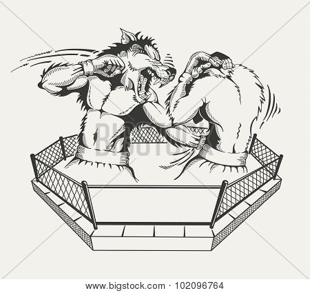 Two boxers fight with the body of man and a wolf's head in the ring.