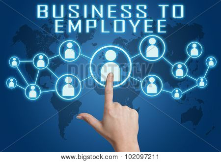 Business to Employee concept with hand pressing social icons on blue world map background. poster