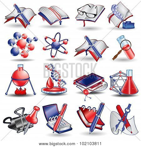 Set of color science and chemical icons in cartoon style