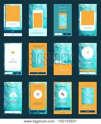 Mobile Screens User Interface Kit. Modern user interface UX, UI screen template for mobile smart pho