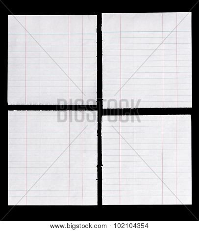 Lined Paper Isolated On Black Background