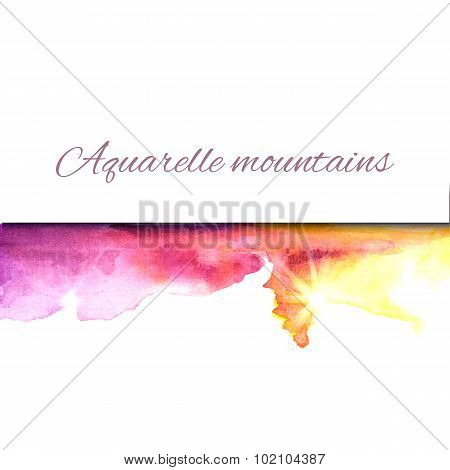 Aquarelle mountains yellow violet