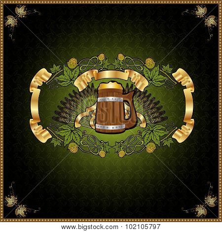 beer background with wood mug and hop element around