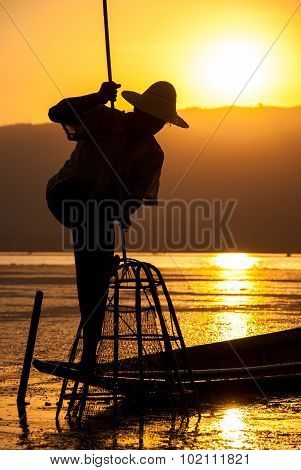 Silhouette Fisherman At Inle Lake, Myanmar