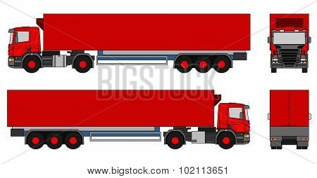 Illustration of a side views of a semi-trailer truck