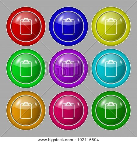 File Annex Icon. Paper Clip Symbol. Attach Sign. Symbol On Nine Round Colourful Buttons. Vector