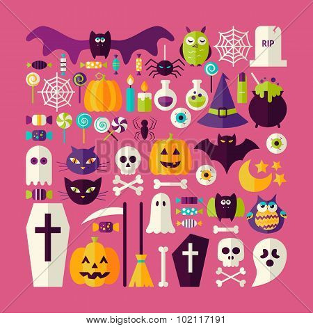 Flat Style Vector Big Set Of Halloween Holiday Objects And Elements