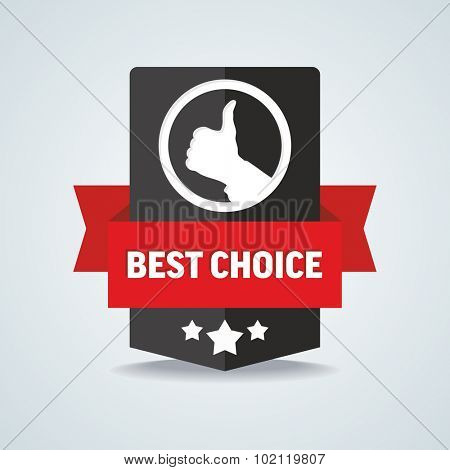 Best choice badge with red ribbon. Vector illustration.