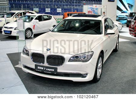 UFA, RUSSIA - JUNE 10: German motor car BMW 7-series (F01) on display at the annual Motor show