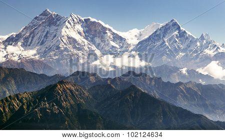 Annapurna Himal From Jaljala Pass - Nepalese Himalayas