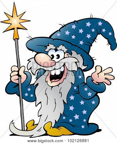 Vector Cartoon Illustration Of A Happy Old Wizard Magic Man