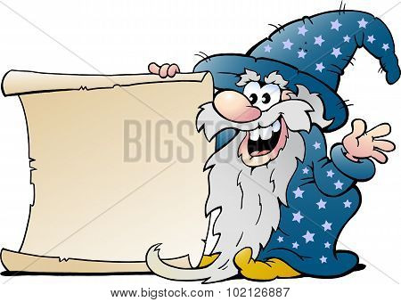 Vector Cartoon Illustration Of A Happy Old Wizard Magic Man Holding A Roll Of Paper