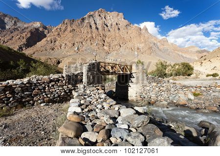 Bridge With Prayer Flags On Zanskar Trek, Ladakh
