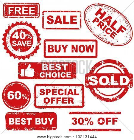 white background with isolated sale stamp