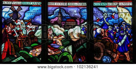 Stained Glass Of The Departure Of Pierre Boucher At La Rochelle For Quebec
