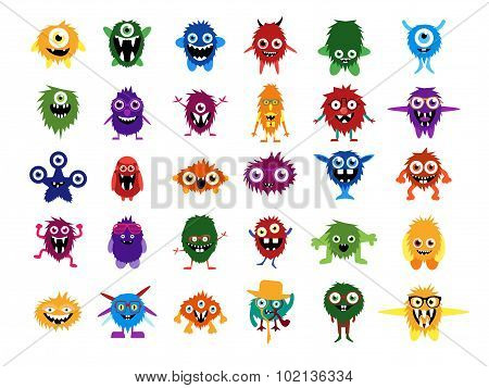 Cute monsters. Big set of cartoon monsters