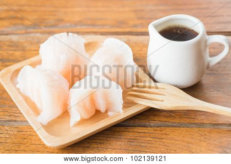 Chinese Har Gao Dim Sum Dumplings On Wooden Plate
