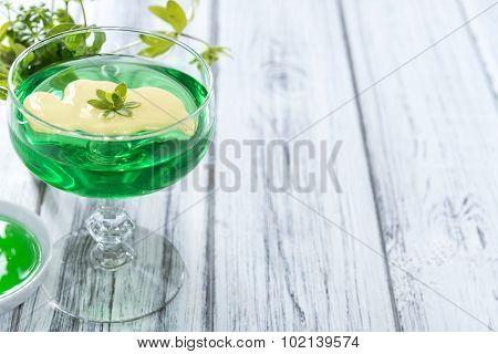 Homemade Jelly (Woodruff taste) with Vanilla Sauce poster