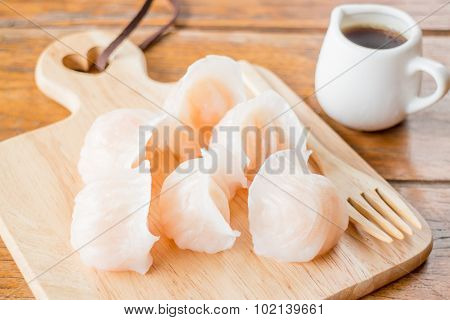Chinese har gao dim sum dumplings on wooden plate stock photo poster