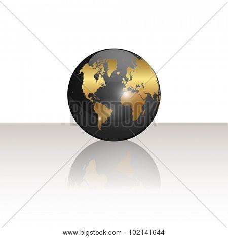 Black and gold world globe illustration