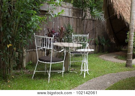 Chair garden on noon time