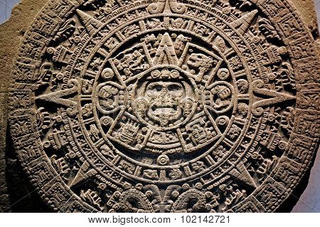 Mexica sun stone or Stone of the Sun (Spanish: Piedra del Sol) is a large monolithic sculpture that was excavated in the Zócalo Mexico City's is part of the archaeological and anthropological artifacts from the pre-Columbian heritage of Mexico. poster