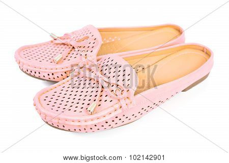 Women Pink Flats Slip-on Shoes Isolated On White Background