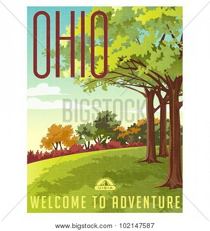 Retro style travel poster or sticker. United States, Ohio landscape.