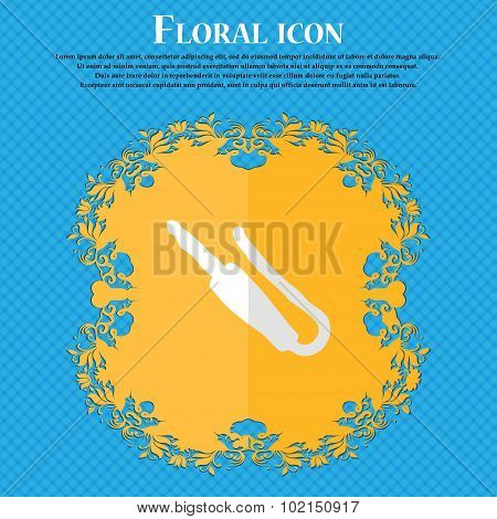 Plug, Mini Jack. Floral Flat Design On A Blue Abstract Background With Place For Your Text. Vector