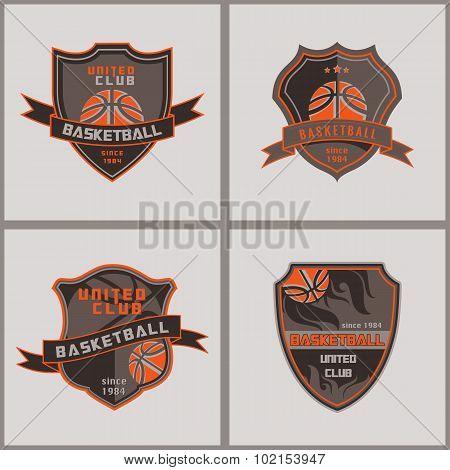 Set Of Basketball  Badge Logo Templates