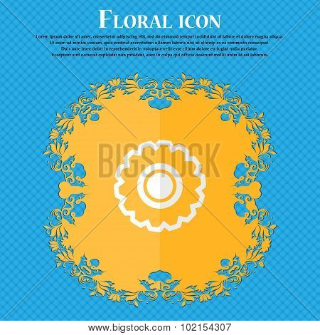 Cogwheel. Floral Flat Design On A Blue Abstract Background With Place For Your Text. Vector