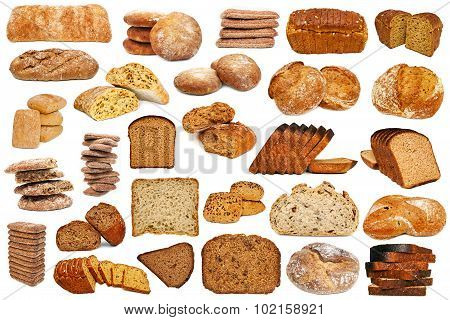 Set of bread isolated