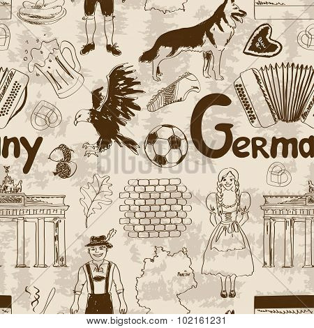 Sketch Germany Seamless Pattern.